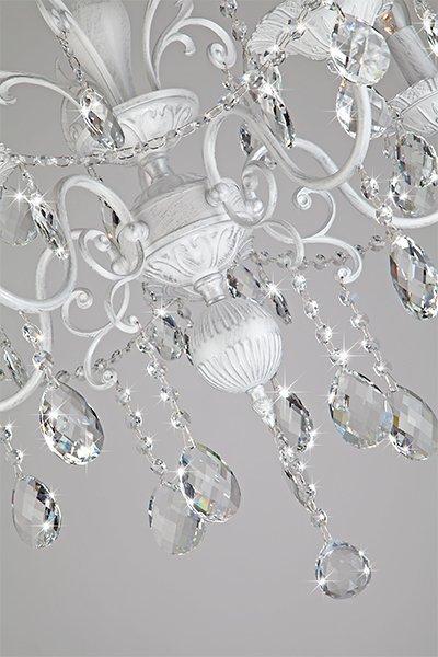 Фото №8 Люстра с хрусталем 10064/5 белый с серебром
