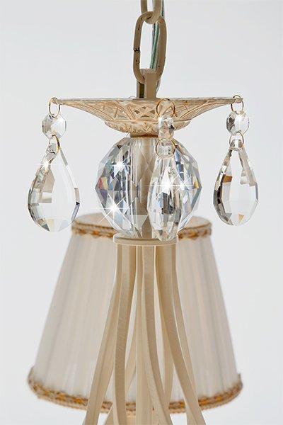 Фото №6 Люстра с хрусталем 10054/5 белый с золотом