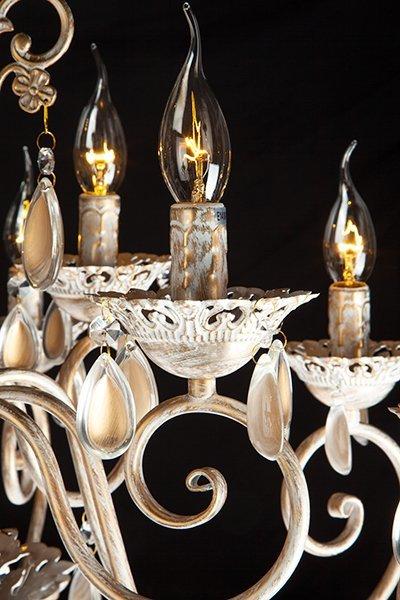 Фото №6 Люстра подвесная 10009/12 белый с золотом