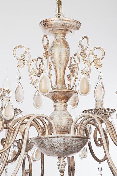 Фото №14 Люстра подвесная 10009/12 белый с золотом