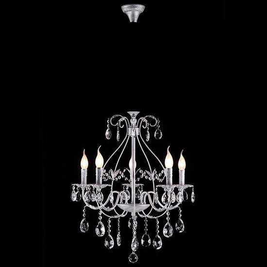 Люстра с хрусталем 10050/5 белый с серебром фото