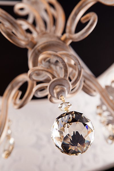 Фото №5 Люстра с хрусталем 10008/4 белый с золотом