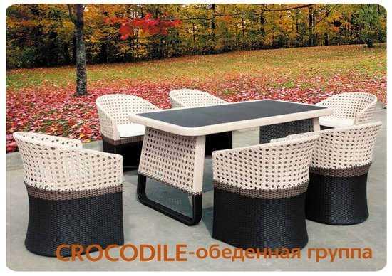 Обеденный комплект мебели из ротанга CROCODILE-202140 фото