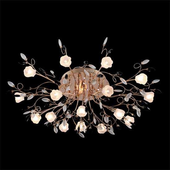 Люстра потолочная со светодиодной подсветкой 5122/16 золото/белый фото
