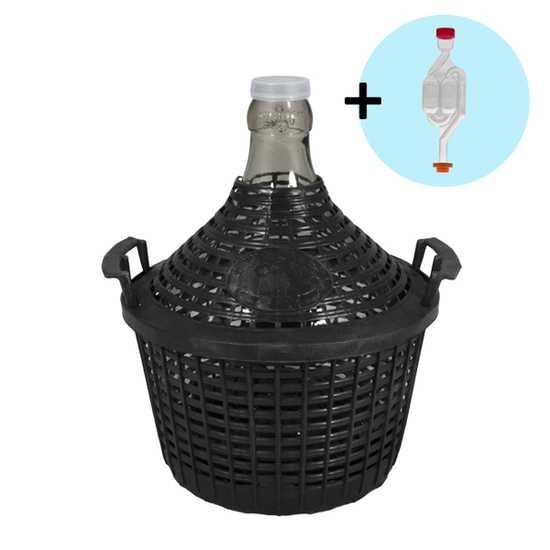 Бутыль в пластиковой корзине 5 л с гидрозатвором фото