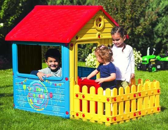 Фото №2 Детский игровой домик с забором (без трубы) арт. 3013