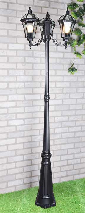 уличный трехрожковый светильник на столбе Capella F/3 черный фото
