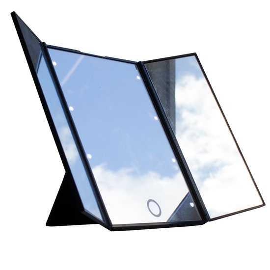 Складное трехстворчатое косметическое зеркало uLike Porto для макияжа с подсветкой, 8 LED ламп, GESS фото