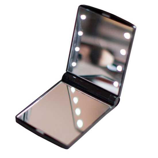 Складное косметическое зеркало uLike Compact для макияжа с подсветкой, 8 LED ламп, 1 сторона увеличивает в 2 раза, GESS фото
