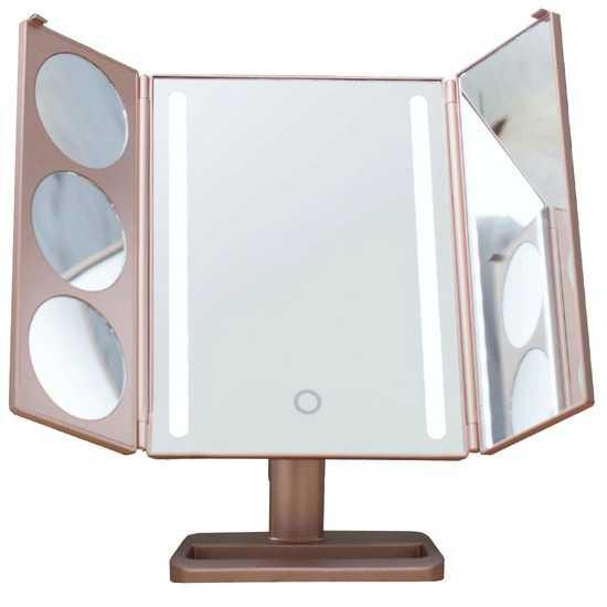 Настольное зеркало uLike Gold для макияжа с подсветкой из 2 светодиодных полосок раскладное, 3 дополнительных зеркальца с увеличением, сенсорный экран, GESS фото