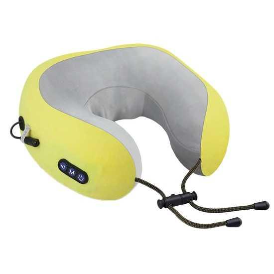 uTravel подушка для путешествий, массажная подушка, роликовый массаж, прогрев, автоотключение, GESS-136 yellow фото