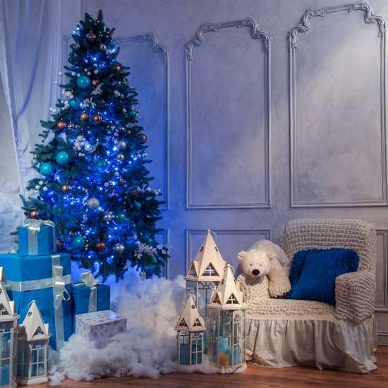 Фото №2 Праздничная гирлянда НИТЬ голубой 10м IP20 400-002