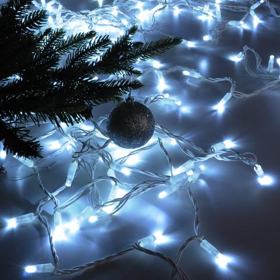 Фото №4 Праздничная гирлянда нить белый 10м IP65 400-101