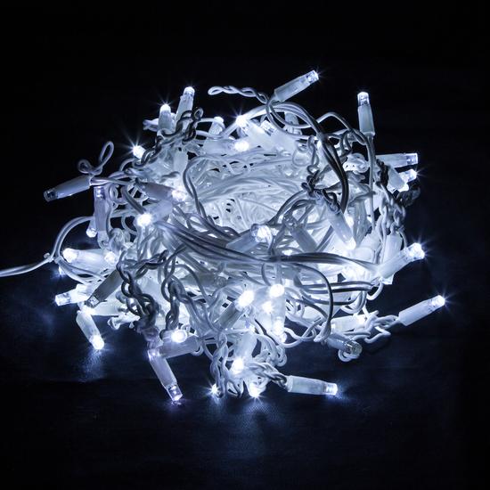 Фото №4 Праздничная гирлянда бахрома белый с эффектом мерцания 3*0,6м IP65 100-101