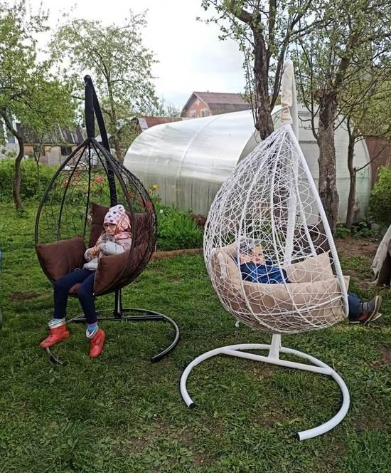 Фото №24 Подвесное кресло-кокон SEVILLA белое + каркас