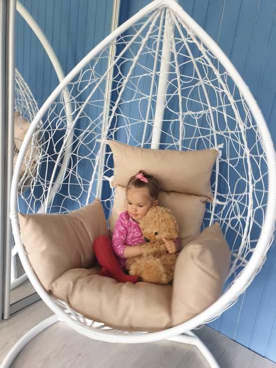 Фото №22 Подвесное кресло-кокон SEVILLA белое + каркас