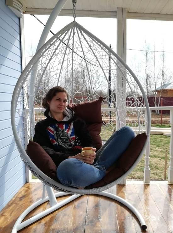 Фото №23 Подвесное кресло-кокон SEVILLA белое + каркас