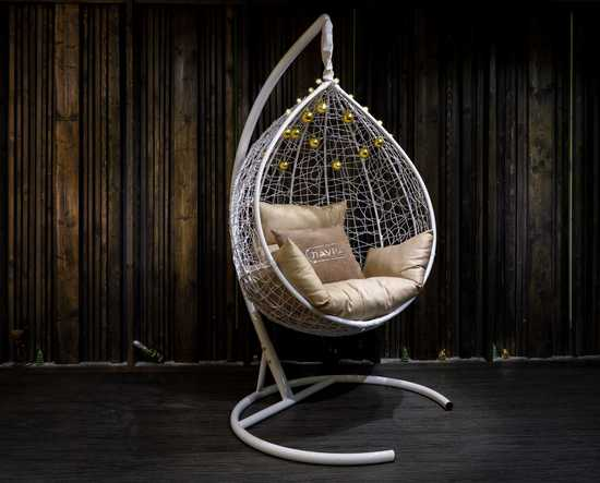 Фото №14 Подвесное кресло-кокон SEVILLA белое + каркас