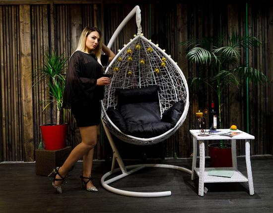 Фото №15 Подвесное кресло-кокон SEVILLA белое + каркас