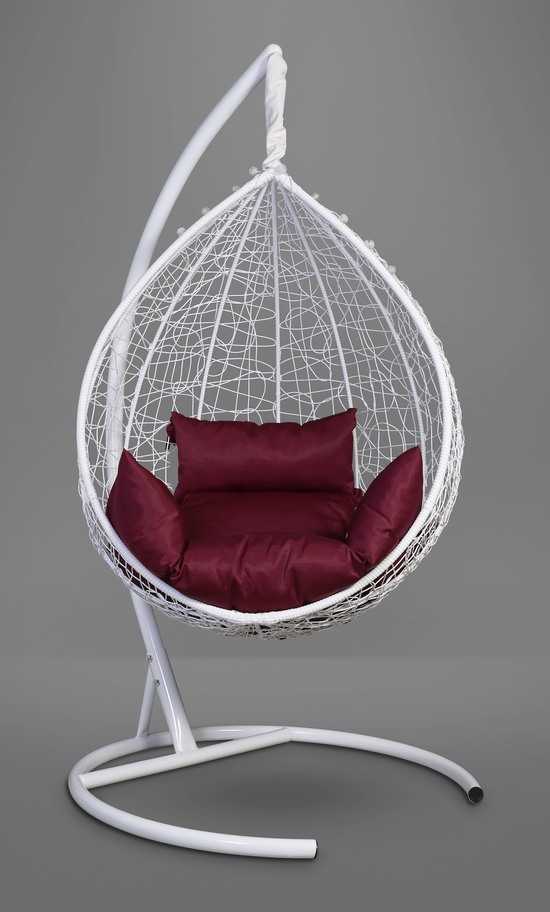 Фото №5 Подвесное кресло-кокон SEVILLA белое + каркас