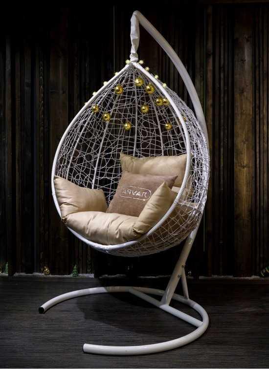 Фото №16 Подвесное кресло-кокон SEVILLA белое + каркас