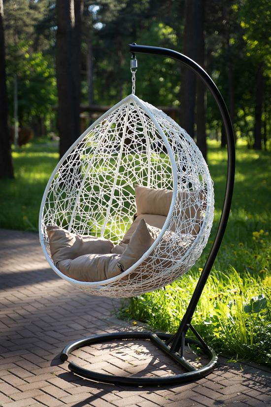 Фото №17 Подвесное кресло-кокон SEVILLA белое + каркас