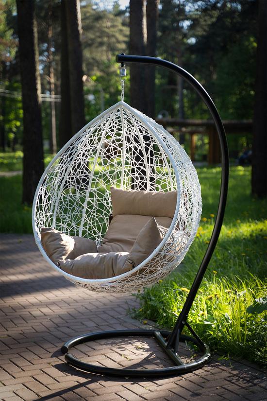 Фото №18 Подвесное кресло-кокон SEVILLA белое + каркас