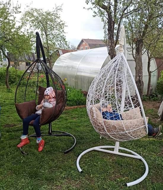Фото №14 Подвесное кресло-кокон SEVILLA коричневое + каркас