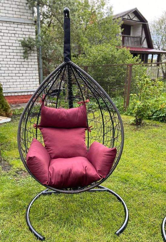 Фото №10 Подвесное кресло-кокон SEVILLA коричневое + каркас