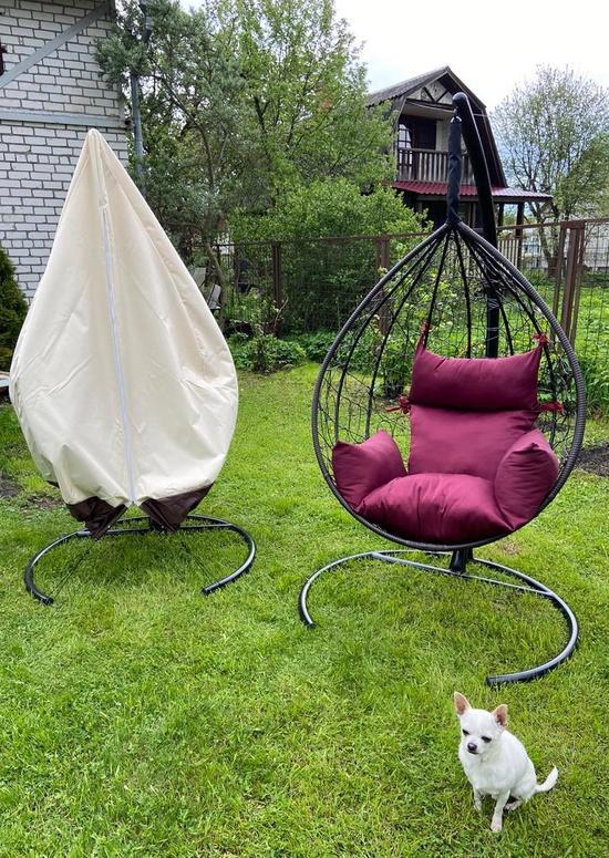 Фото №13 Подвесное кресло-кокон SEVILLA коричневое + каркас
