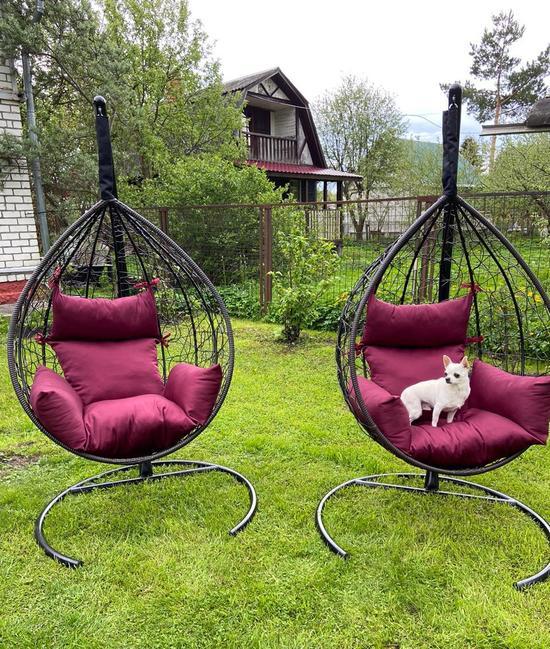 Фото №11 Подвесное кресло-кокон SEVILLA коричневое + каркас
