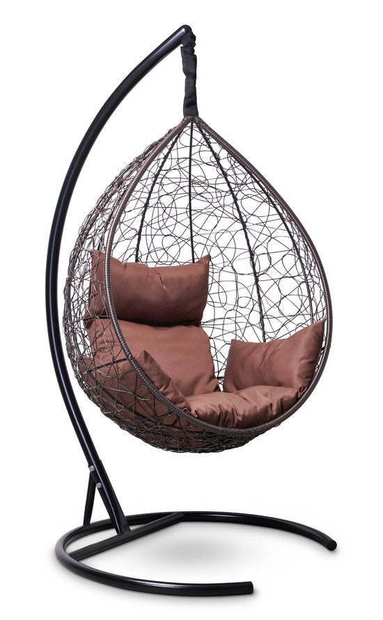 Фото №6 Подвесное кресло-кокон SEVILLA коричневое + каркас