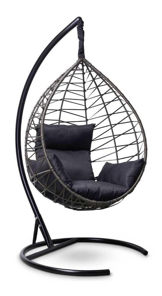 Фото №3 Подвесное кресло-кокон ALICANTE черное с золотом + каркас