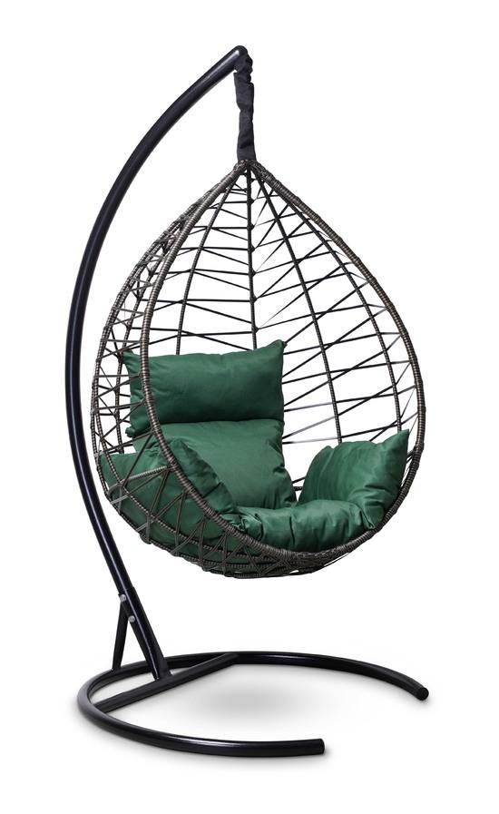 Фото №4 Подвесное кресло-кокон ALICANTE черное с золотом + каркас