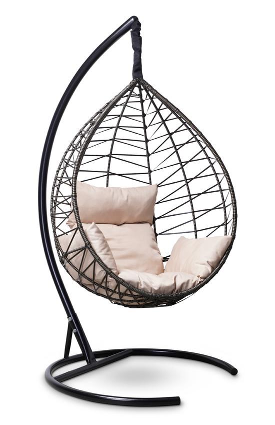 Фото №2 Подвесное кресло-кокон ALICANTE черное с золотом + каркас