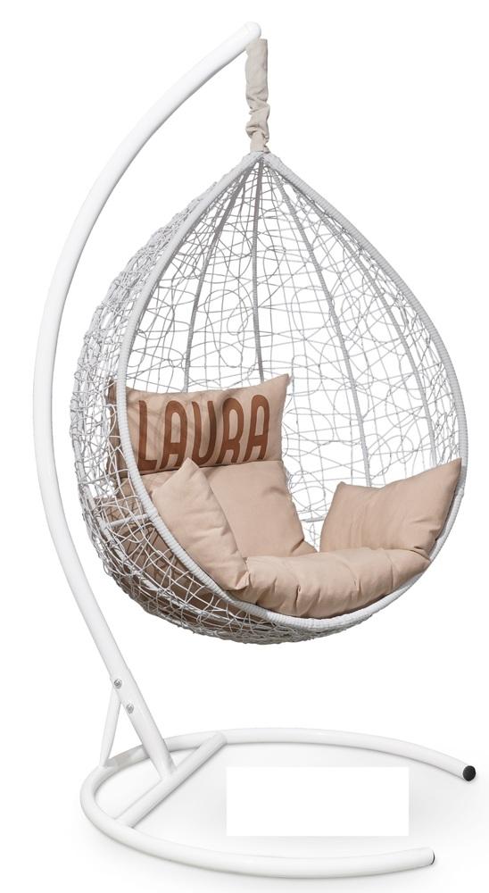 Фото №5 Подвесное кресло SEVILLA VELOUR белое + каркас