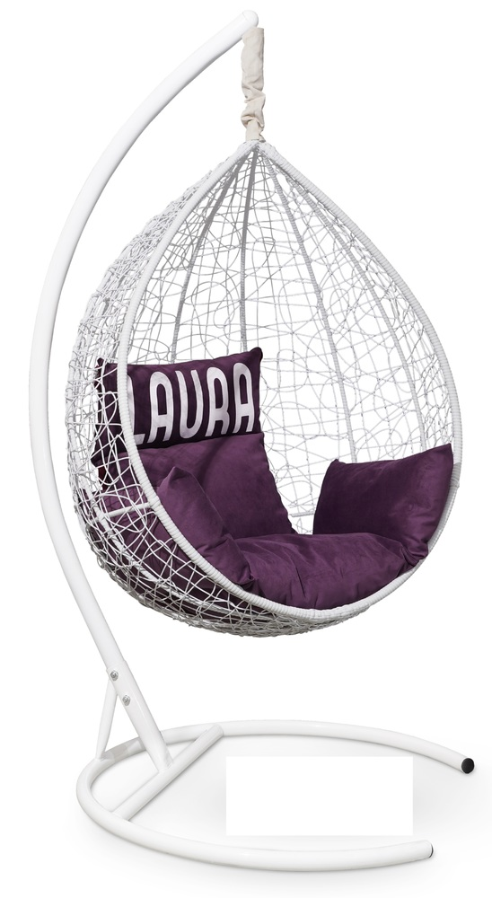 Фото №6 Подвесное кресло SEVILLA VELOUR белое + каркас