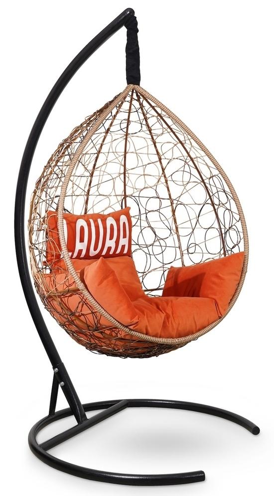 Фото №3 Подвесное кресло SEVILLA VELOUR горячий шоколад + каркас