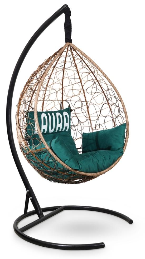 Фото №2 Подвесное кресло SEVILLA VELOUR горячий шоколад + каркас