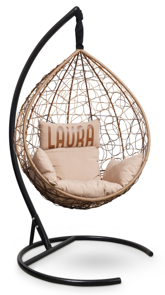 Фото №4 Подвесное кресло SEVILLA VELOUR горячий шоколад + каркас