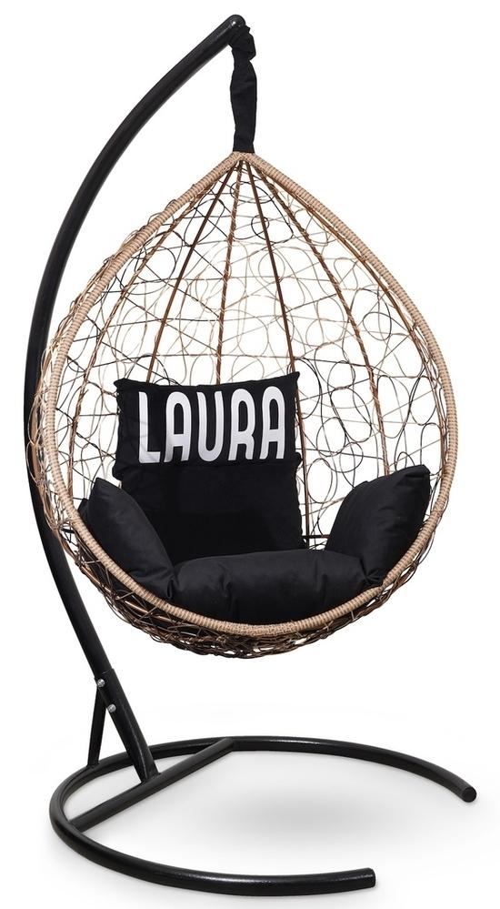Фото №5 Подвесное кресло SEVILLA VELOUR горячий шоколад + каркас