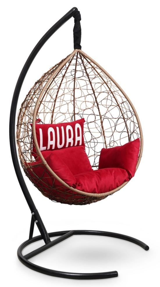 Фото №6 Подвесное кресло SEVILLA VELOUR горячий шоколад + каркас