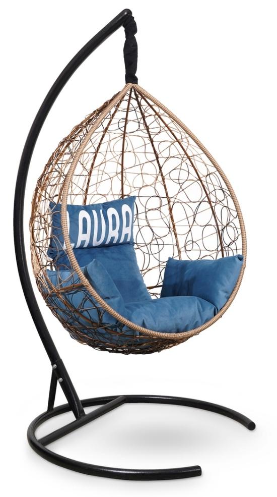 Фото №8 Подвесное кресло SEVILLA VELOUR горячий шоколад + каркас