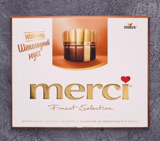 Фото №2 Шоколадные конфеты Ассорти Merci. Finest Selection Шоколадный мусс 250г