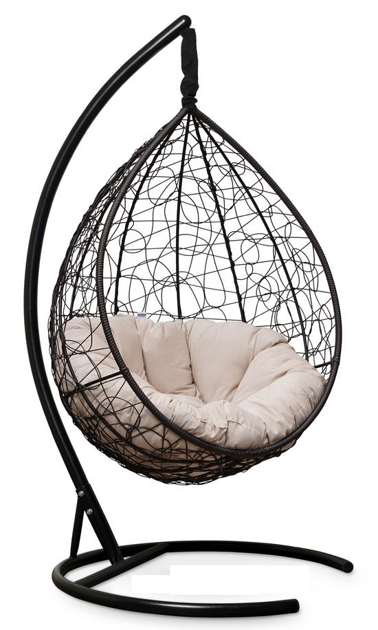 Фото №2 Подвесное кресло SEVILLA VERDE VELOUR коричневое + каркас