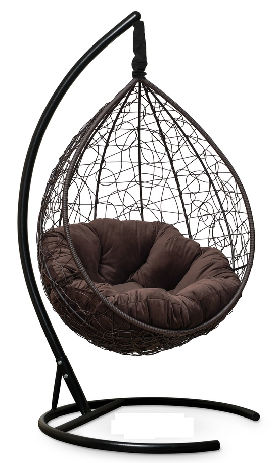 Фото №8 Подвесное кресло SEVILLA VERDE VELOUR коричневое + каркас