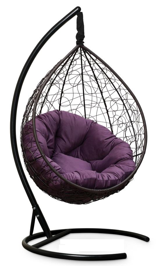 Фото №10 Подвесное кресло SEVILLA VERDE VELOUR коричневое + каркас