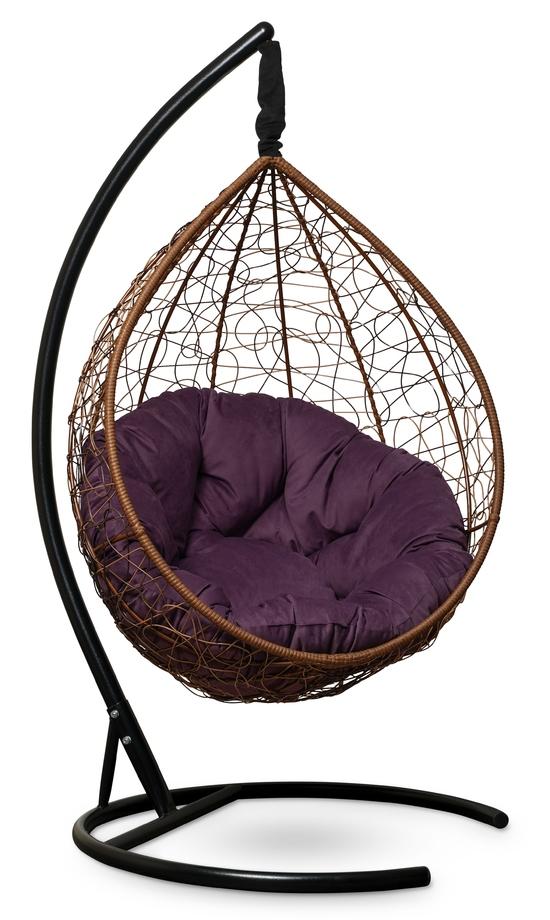 Фото №6 Подвесное кресло SEVILLA VERDE VELOUR горячий шоколад + каркас