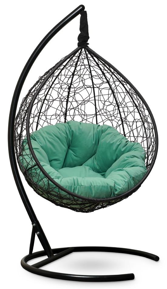 Фото №2 Подвесное кресло SEVILLA VERDE VELOUR черное + каркас