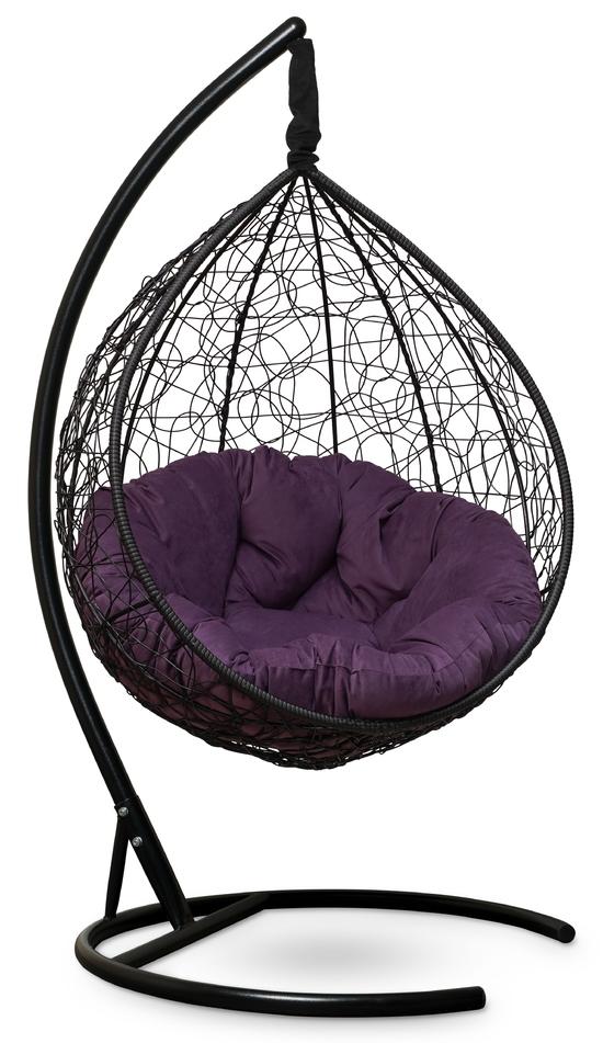 Фото №3 Подвесное кресло SEVILLA VERDE VELOUR черное + каркас